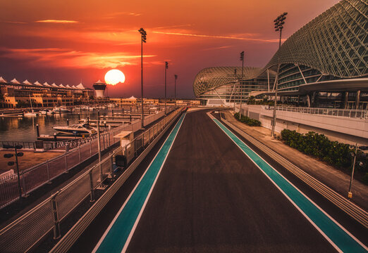 ABU DHABI, UAE - May 13, 2014: The Yas Marina Formula 1 Grand Prix Circuit. Set amongst a Marina, with an innovative design. The circuit is designed by Hermann Tilke.