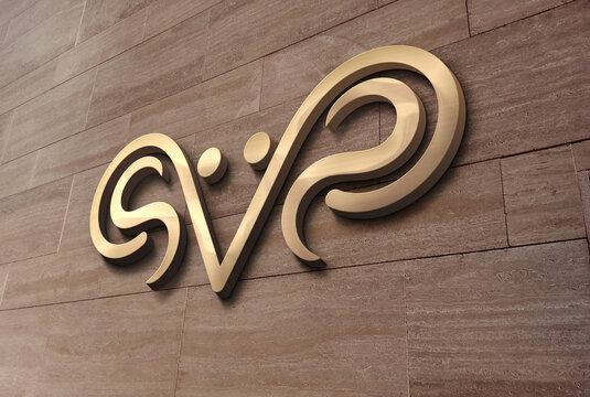 3D wall logo mockup design