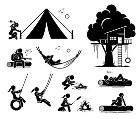 Fototapeta Woman recreational pursuit at outdoor stick figure icons. Vector artwork of a woman making a campsite, tent, fire, sitting on a log, resting on hammock, and having fun by the tree house.