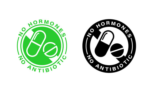 Certificate seal. No hormone. Natural product. Fresh nutrition. Healthy antibiotics free products. Vector on isolated white background. EPS 10
