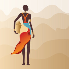 Vector, luxurious African woman in traditional dress, silhouette of an elegant beautiful African girl in the desert in a beautiful dress and gold jewelry
