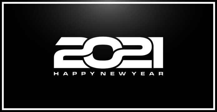 Happy New Year 2021 logo text design. Cover of business diary for 2021 with wishes. Brochure design template, card, banner. Vector illustration. Isolated on black background.