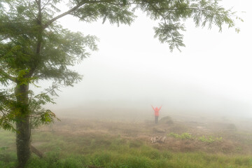 Taken photo of the atmosphere of white fog that is very thick until almost impossible to see standing person who wearing red jacket. With tree as foreground.
