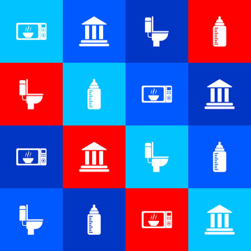 Set Microwave oven, Bank building, Toilet bowl and Baby bottle icon. Vector.
