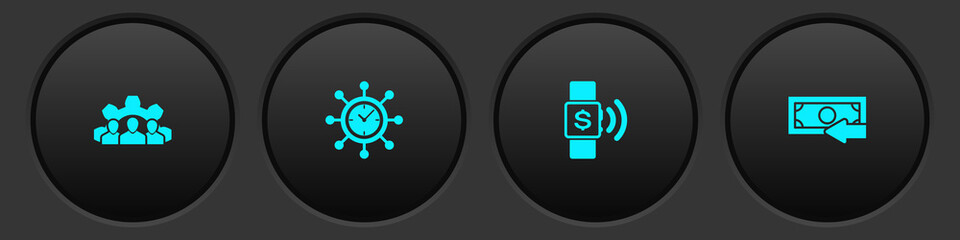 Set Project team base, Clock and gear, Contactless payment and Cash back icon. Vector.