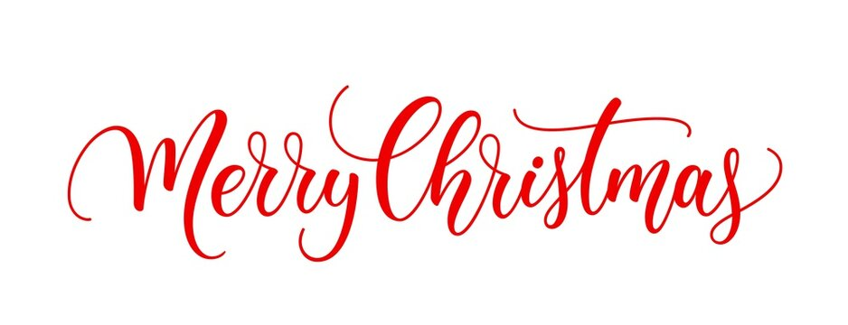 Merry Christmas text. Xmas calligraphic inscription. Christmas handwritten lettering. Xmas text isolated on white for postcard, poster, banner design element.