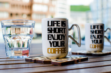 Photo sur Plexiglas Cafe cup of coffee on a table