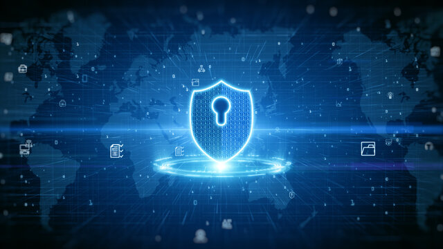 Shield Icon Of Cyber Security. Digital Data Network Protection. High Speed Connection Data Analysis. Technology Data Network Conveying. Future Technology Digital Background
