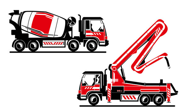 Concrete truck and truck with concrete pump two colors vector illustration. Heavy machinery, concrete builders.