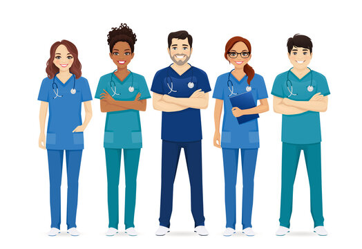Multiethnic nurse characters group. Medical team isolated vector illustartion