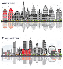 Manchester England and Antwerp Belgium City Skyline with Gray Buildings and Reflections Isolated on White.