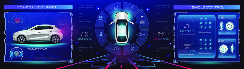 Obraz Car service. Holographic digital interface. Dashboard, characteristics, description of the car. Futuristic car interface for website or video games. Realistic car in 3D space holographic interface wit - fototapety do salonu