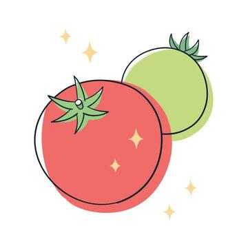新鮮な赤色と緑色のトマト