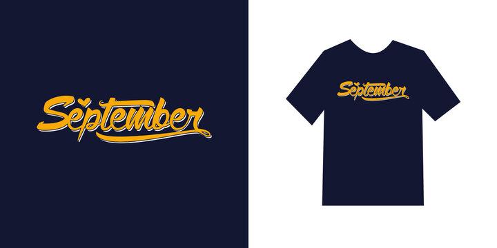 September handwritten lettering / September typography t-shirt Premium Vector