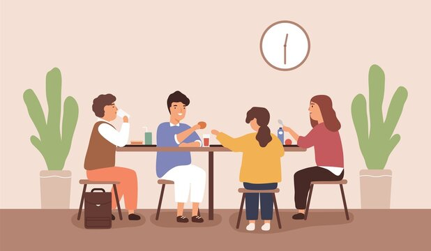 Children sitting and eating at table at school canteen. Pupils having mealtime at cafeteria. Scene of classmates dining or lunch together. Flat vector cartoon illustration of pre teen schoolchildren