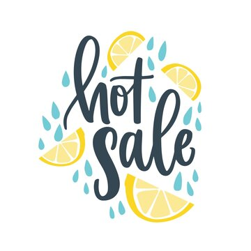 Advertising lettering composition on white with handwritten cursive promo text. Hot Sale phrase decorated by water drops and lemon slices. Flat vector isolated illustration for seasonal discount