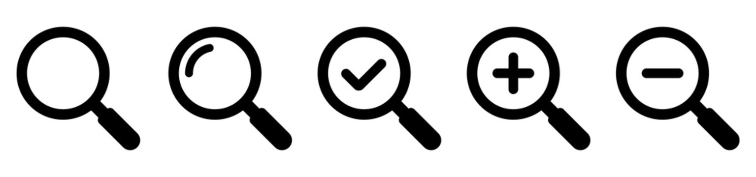 Magnifying glass simple icon collection. Search icon set. Vector