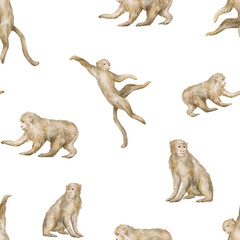 Watercolor seamless pattern with cute monkeys. Wild jungle animals. Tropical wildlife. Background with chimpanze for textile, wallpaper, poster - 375332963