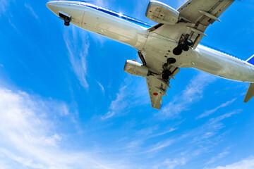 青空と旅客機と白い雲 Fotobehang