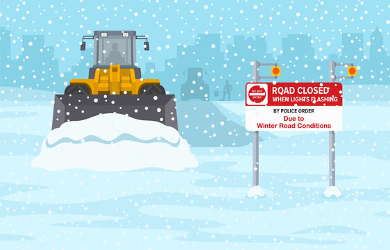 Snow plow excavator on winter highway. Wheel loader clearing snow away. Flat vector illustration template.