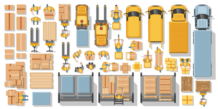 Warehouse and delivery. Top view. Vector set. Machines, equipment, warehouse workers, suppliers, parcels. Logistics icons set with cargo symbols. Logistic infographics. View from above.