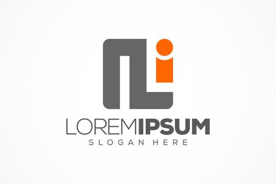 square linked letter n and i logo