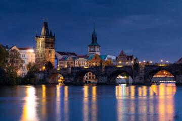 Wall Mural - Prague, Charles Bridge in the evening. Czech Republic.