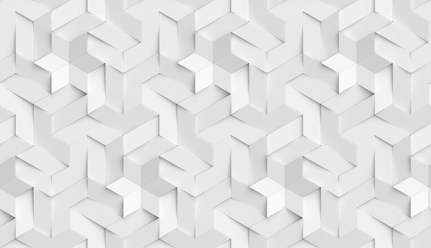 3D Wallpaper origami mosaic of white particles.