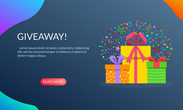 Gift boxes with confetti banner. Giveaway poster for social media. Winner prize or reward design concept. Vector illustration.