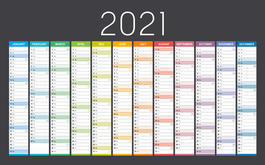 Foto auf Leinwand Vogel auf Asten Year 2021 colorful wall calendar, with weeks numbers, on black background. Vector template.