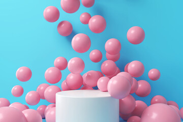 Geometric shape pastel color scene minimal, design for cosmetic or product display podium 3d render.