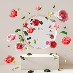 3d rendering scene with podium and flower abstract background. Geometric shape in pastel colors.