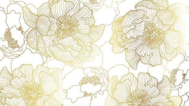 Luxury rose golden art deco wallpaper. Nature background vector. Floral pattern with golden flower line art. Vector illustration..