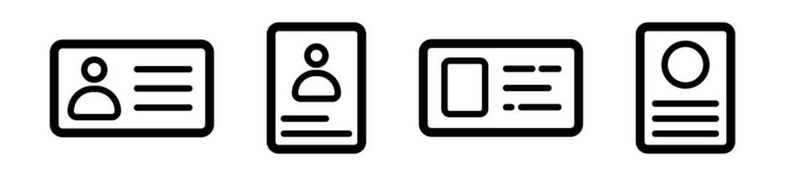 Set of identity card icons in line style