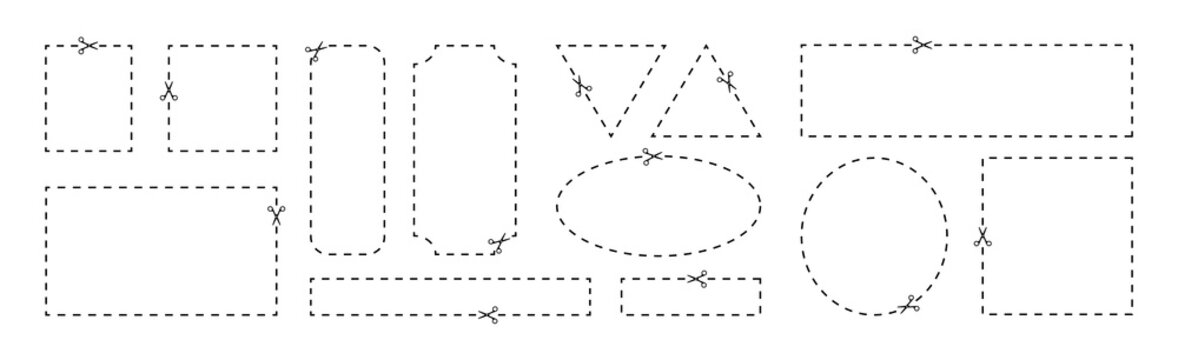 Coupon template with cut out dashed or dotted lines and scissors arrow showing cut lines, coupon border with scissors