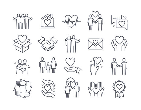 Set of black and white care icons with hearts, people and hands showing love, friendship and health care, vector illustration for design elements