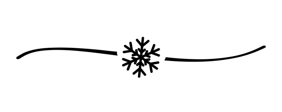 Hand drawn shape snowflake with cute sketch line, divider shape. Elegant vector calligraphy snow sign concept for holiday card, poster or banner design