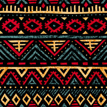 Seamless vintage pattern. Grungy texture. Ethnic and tribal motifs. Blue, yellow, red and purple colors. Vector illustration.