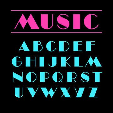 Art deco font Retro geometric design