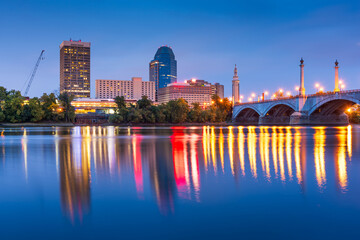 Fototapete - Springfield, Massachussetts, USA Skyline