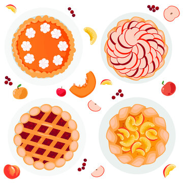 Several pies, apple pie, pumpkin pie, berry pie, peach pie. Whole and chopped apples, pumpkins, peaches and berries are all around. Vector illustration isolated on white background.