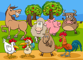 funny farm animals cartoon characters group