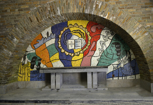 The crypt with the mosaics by Fernand Leger of Mardasson military memorial commemorating american casualties of battle of the bulge at the end of second world war. Bastogne, Belgium