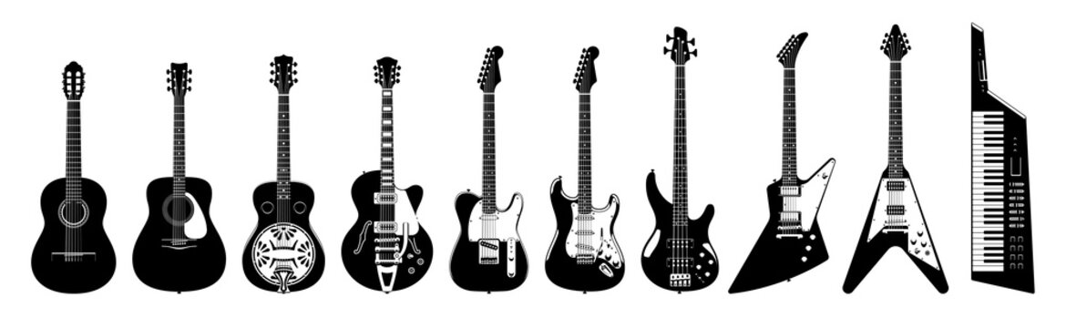 Guitar set. Acoustic & electric guitars on white background. Vector monochrome illustration. Musical Instruments.