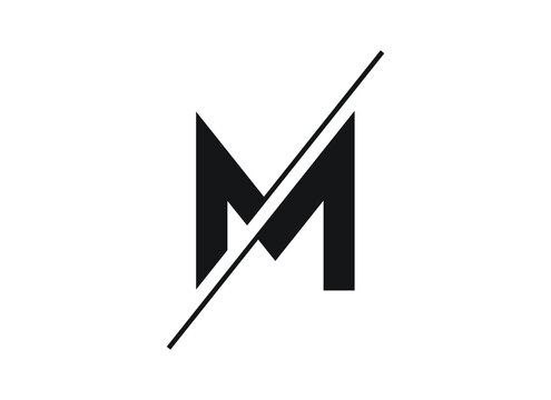 Letter M logo in a moden style with cut out slash and lines. Vector