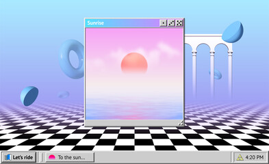 Obraz Vaporwave abstract background with OS window with sunrise and interface, surreal shapes and colonnade with arches - fototapety do salonu