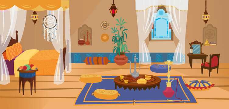 Traditional middle Eastern bedroom with furniture and decoration elements. Moroccan or Indian interior. Cartoon vector.