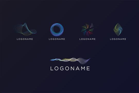 Abstract technology shape logo bundle