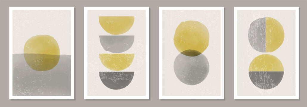 Trendy set of abstract aesthetic watercolor minimalist hand drawn backgrounds