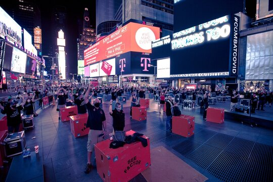 Leds display the We Make Events call to action in Times Square out and about for #WeMakeEvents Lights Up Venues to Promote #RedAlert RESTART for Live Events